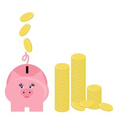 Free Piggy Bank And Coins Stock Photography - 14940542