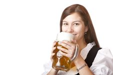 Free Woman In Dirndl Cloth Holds Oktoberfest Beer Stein Stock Photo - 14940690