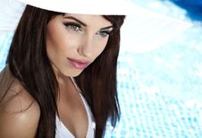Free Young Woman At A Pool Royalty Free Stock Photo - 14941105