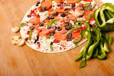 Free Raw Pizza With Vegetables And Pepperoni Stock Photo - 14941610