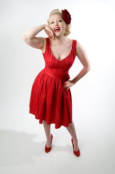 Free Pinup Girl In Red Dress Stock Photography - 14942362