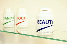 Free Sanity, Beauty And Youth Pills In A Bottle Stock Image - 14944961