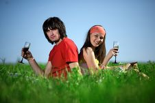 Free Nice Girl And Boy With Wineglasses Stock Images - 14945284