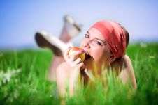 Free Nice Girl In Kerchief With Apple Royalty Free Stock Image - 14945316