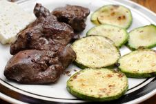 Panfried Green Zucchini With Chicken Liver