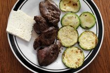 Free Panfried Green Zucchini With Chicken Liver Stock Photos - 14945633