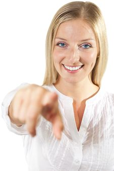 Free Woman Pointing Finger Royalty Free Stock Images - 14945949
