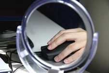 Image Of A Hand On A Mouse Reflected In A Mirror 1 Stock Images