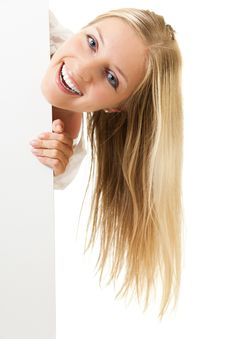Free Woman Peeping From Behind White Board Royalty Free Stock Photo - 14946235