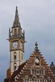 Clock Tower In Gent. Royalty Free Stock Image