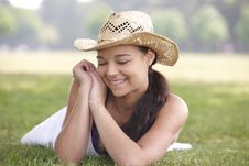Free Girl Wearing Summer Hat Stock Photo - 14947770