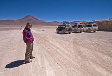 Woman In The Bolivian Desert Royalty Free Stock Images