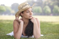 Free Girl Wearing Summer Hat Stock Photography - 14947902
