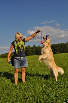 Free Woman Playing With Her Dog Royalty Free Stock Photos - 14948308