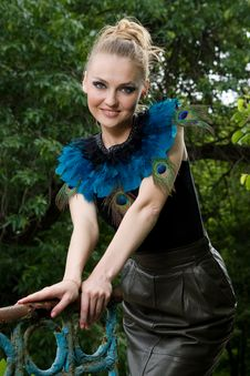 Free Portrait Of Girl In Blouse With Peacock Feathers Stock Photos - 14948703