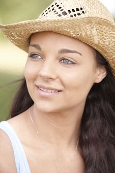 Free Girl Wearing Summer Hat Stock Photography - 14948882