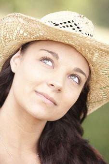 Free Girl Wearing Summer Hat Stock Photos - 14949153