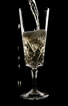 Free Champagne Being Poured In Crystal Glass Stock Photos - 14949243