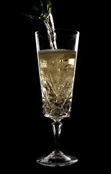 Free Champagne Being Poured In Crystal Glass Royalty Free Stock Images - 14949299