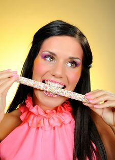 Beautiful Happy Girl With A Sweet Lollipop Stock Photos