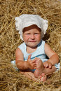 Free Toddler Girl In Hay Stock Images - 14951444