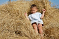 Free Boy Playing In Hay Stock Image - 14951451