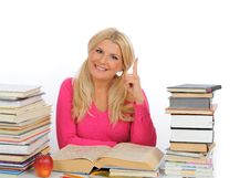 Free Portrait Of Young Student Girl With Lots Of Books Royalty Free Stock Photography - 14950087