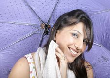 Free Smiling Umbrella Girl Stock Image - 14950401