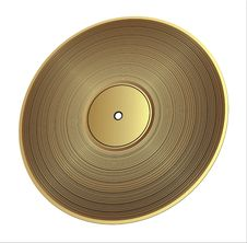 Free Gold Vinyl Record Royalty Free Stock Photography - 14951927