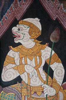 A Demon In The Ramayana Painted On Wall Royalty Free Stock Photo
