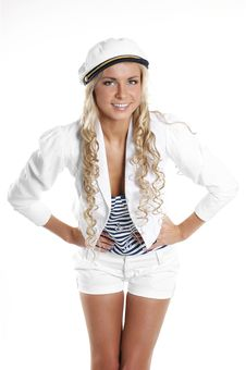 Free Image Of A Young Blond Posing In A Sailor Hat Royalty Free Stock Image - 14952756