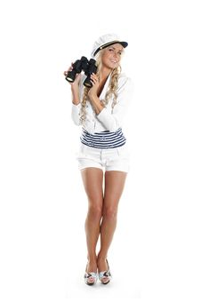 Free Image Of A Young Sailor Girl Holding Binoculars Royalty Free Stock Images - 14952769