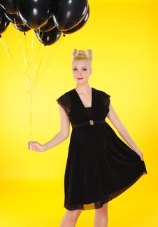 Free Lady With Black Balloons Royalty Free Stock Image - 14952836