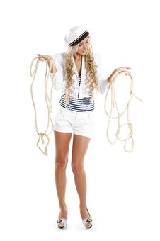 Free Image Of A Sailor Girl Trying To Untangle A Rope Royalty Free Stock Image - 14952976