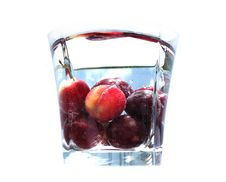 Cherries Are In Glass Stock Photography