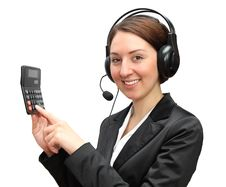 Telephone Operator With Calculator Stock Photos