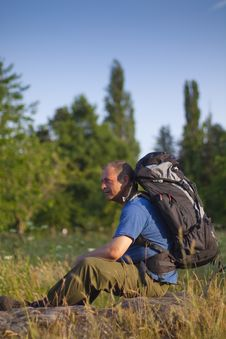 Free Backpacker In Sunny Field Stock Images - 14955304
