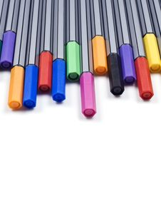 Free Colourful Pens On A White Background Royalty Free Stock Photo - 14955485