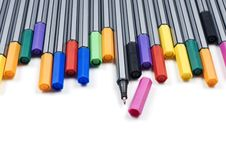 Free Colourful Pens On A White Background Stock Photo - 14955560