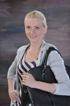 Young Woman 20-25 Years With Road Bag Stock Image