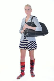 Free Young Adult Woman With Road Bag Royalty Free Stock Image - 14956446