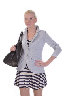 Free Young Adult Woman With Road Bag Royalty Free Stock Photos - 14956558