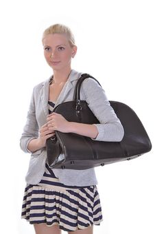 Free Young Adult Woman With Road Bag Stock Image - 14956571