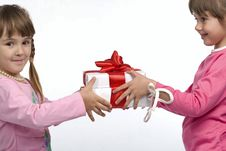 Free Little Girls Holding Gift Boxes Royalty Free Stock Photo - 14959085