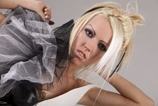 Free Blonde In Black And White Leather Suit Royalty Free Stock Photo - 14959195