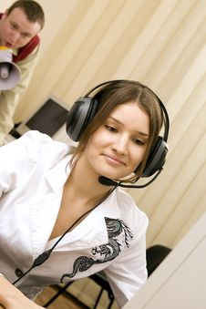 Free Woman With Headset At Workplace And Her Boss Stock Images - 14959204