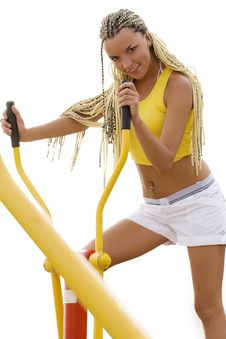 Free Model Working Out On Fitness Playground Stock Images - 14959294