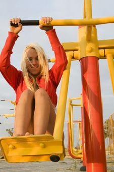 Model Working Out On Fitness Playground Royalty Free Stock Photography