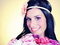 Free Retro Portrait Of Pretty Woman With Roses Stock Photos - 14965373