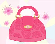 Free Female Bag Decorated With Roses Royalty Free Stock Photos - 14962258